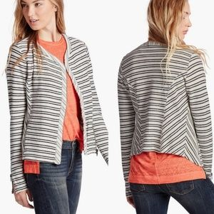 Lucky Brand Striped Moto Sweater Jacket